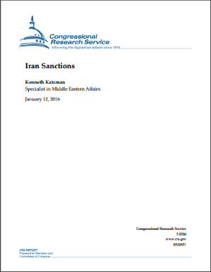 Iran Sanctions - Congressional Research Services Report - 16th January 2016