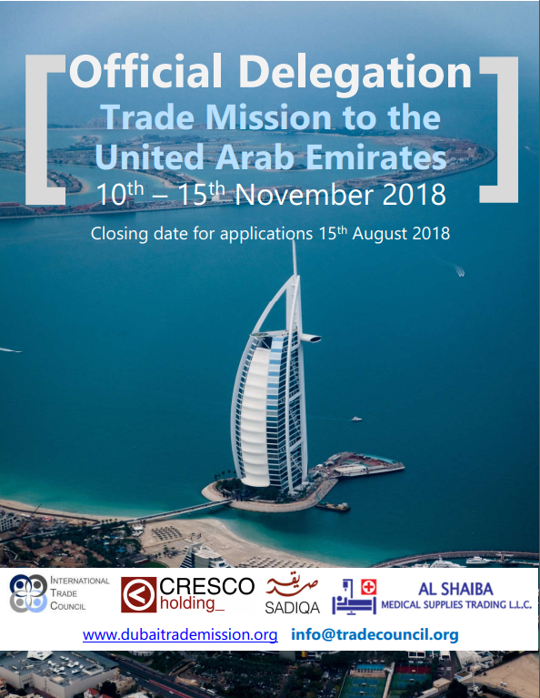 Official Trade Mission to the United Arab Emirates - the International Trade Council, a peak-body, non-profit chamber of commerce. Assisting organizations with international trade, exporting, importing, trade finance, technical barriers to trade and more.